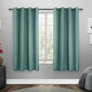 Sateen Twill Woven Blackout Curtain 2 Panels Teal